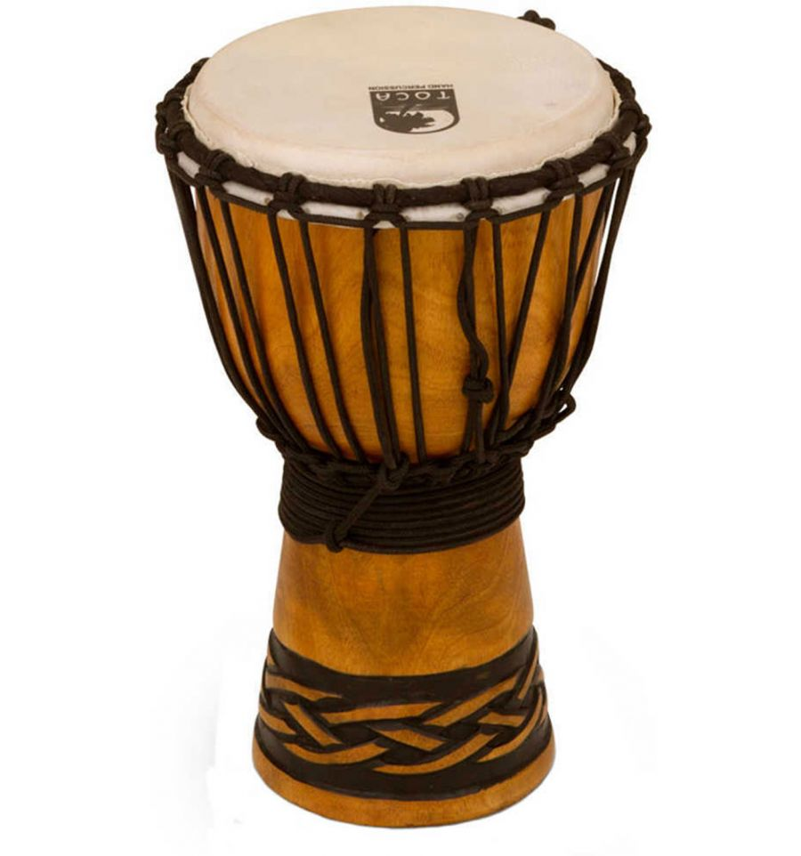 toca percussion origins series rope tuned wood 7 inch djembe celtic knot sound centre. Black Bedroom Furniture Sets. Home Design Ideas