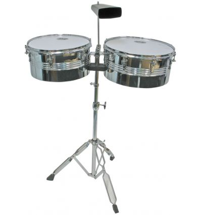Mano Percussion MP1434 Timbales - 13 Inch 14 Inch Chrome Finish