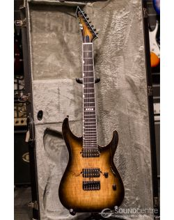 ESP E-II M-II-7 Spalted Maple 7 String Electric Guitar - Dark Brown Natural Burst