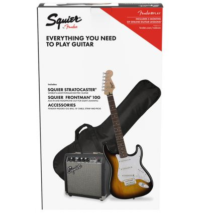 Squier Stratocaster Electric Guitar Pack With Frontman 10G Amp - Brown Sunburst