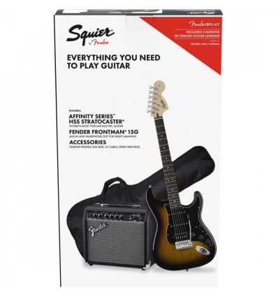 Squier Affinity HSS Stratocaster Electric Guitar Pack - Brown Sunburst