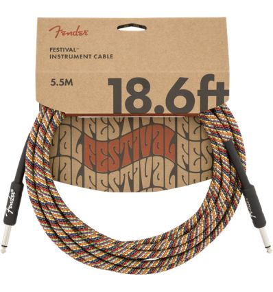Fender 18.6 Foot Stright To Angled Festival Pure Hemp Instrument Cable - Rainbow