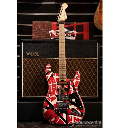 EVH Striped Series Frankie Relic - Red With Black and White Stripes